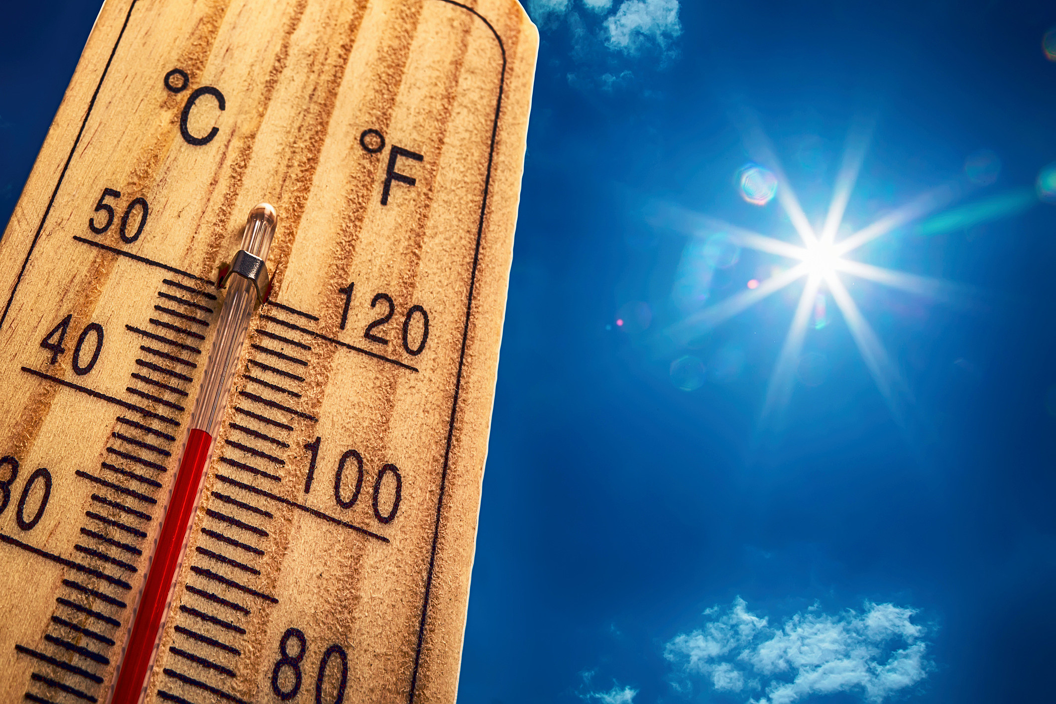 Thermometer Sun 40 Degres. Hot summer day. High Summer temperatures